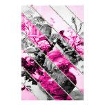 Brillo floral blanco negro rosado de las rayas del papeleria de diseño