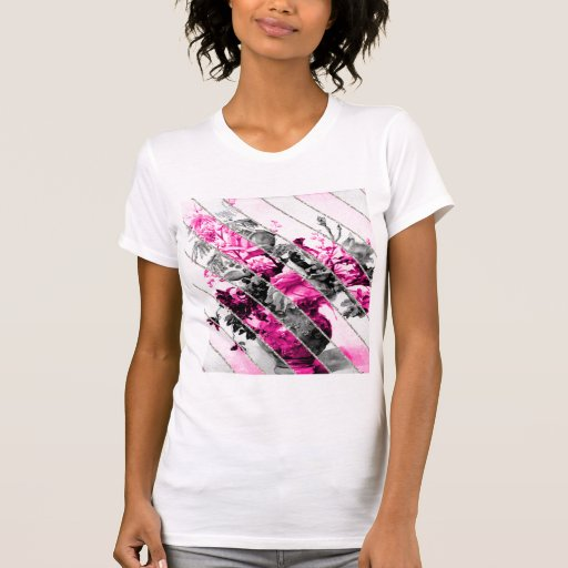 Brillo floral blanco negro rosado de las rayas del tshirts