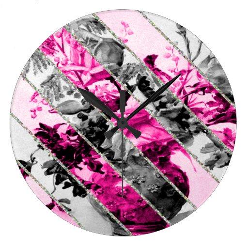 Brillo floral blanco negro rosado de las rayas del relojes