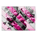 Brillo floral blanco negro rosado de las rayas del tarjetón