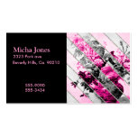 Brillo floral blanco negro rosado de las rayas del tarjetas de visita