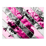 Brillo floral blanco negro rosado de las rayas del tarjeta postal