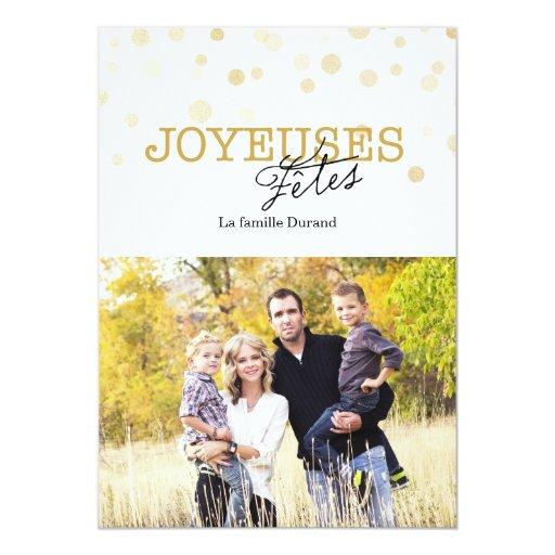 Brillo francés del oro de la tarjeta de Navidad Comunicados Personales