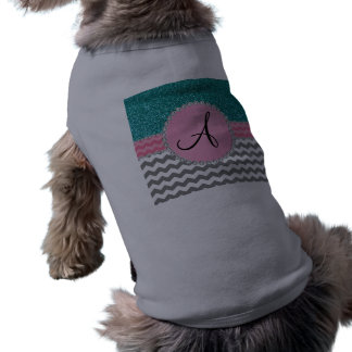 Brillo gris con monograma de la turquesa de los ropa para mascota