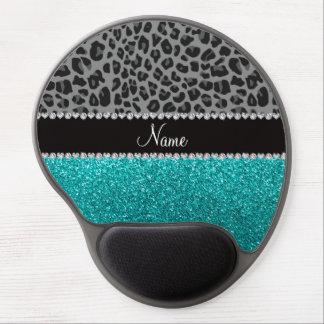 Brillo gris conocido personalizado de la turquesa  alfombrilla de ratón con gel