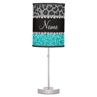 Brillo gris conocido personalizado de la turquesa lámpara de mesilla de noche