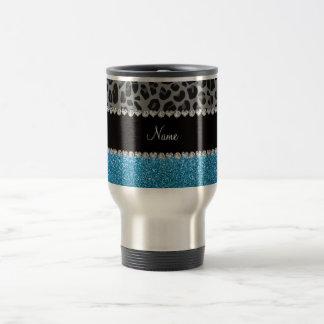 Brillo gris conocido personalizado del azul de cie tazas