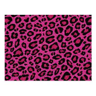 Brillo hermoso del brillo de la piel del leopardo tarjetas postales