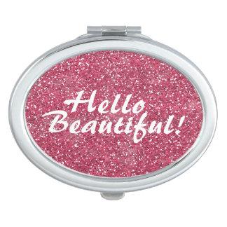 Brillo hermoso positivo del rosa de la afirmación espejo maquillaje