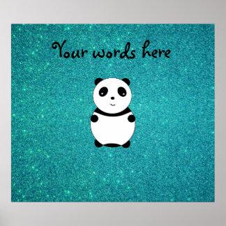 Brillo lindo de la turquesa de la panda del bebé póster