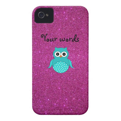 Brillo lindo del rosa del búho de la turquesa iPhone 4 protector