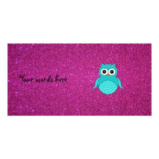 Brillo lindo del rosa del búho de la turquesa tarjeta fotografica