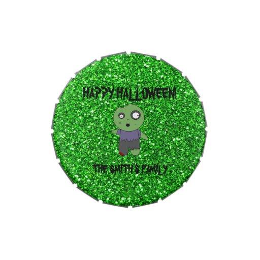 Brillo lindo del verde del zombi frascos de caramelos