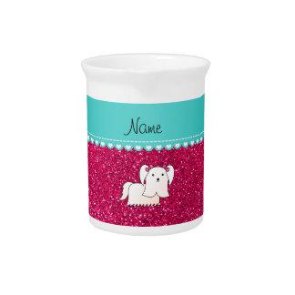 Brillo maltés conocido personalizado del rosa jarra para bebida