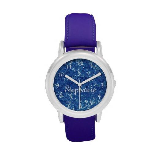 Brillo-Mirada personalizada del azul de los niños Relojes