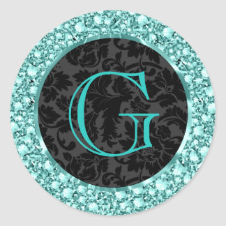 Brillo-Monograma chispeante negro y Azul-G de los Etiquetas Redondas