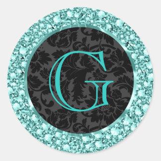 Brillo-Monograma chispeante negro y Azul-G de los Pegatina Redonda