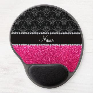 Brillo negro conocido personalizado del rosa del d alfombrilla de raton con gel