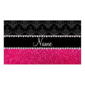 Brillo negro conocido personalizado del rosa del d tarjeta de visita