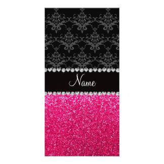 Brillo negro conocido personalizado del rosa del d tarjeta personal con foto