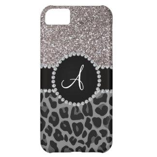 Brillo negro de la plata del leopardo del funda para iPhone 5C