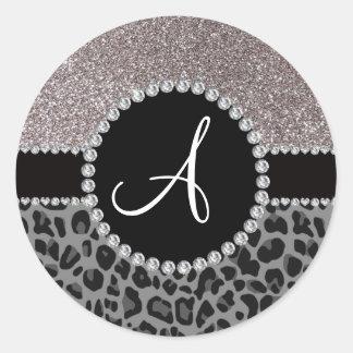 Brillo negro de la plata del leopardo del monogram pegatinas redondas