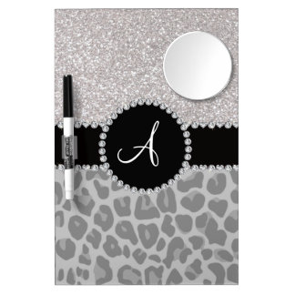 Brillo negro de la plata del leopardo del monogram tableros blancos