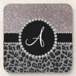 Brillo negro de la plata del leopardo del monogram posavaso