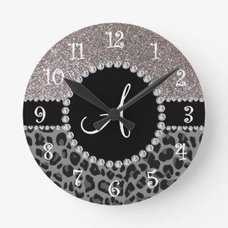 Brillo negro de la plata del leopardo del monogram relojes