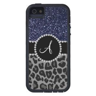 Brillo negro de los azules marinos del leopardo de iPhone 5 Case-Mate funda