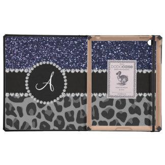 Brillo negro de los azules marinos del leopardo de iPad carcasa