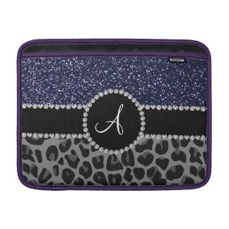 Brillo negro de los azules marinos del leopardo de fundas para macbook air
