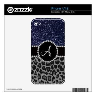 Brillo negro de los azules marinos del leopardo de iPhone 4S calcomanía
