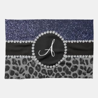 Brillo negro de los azules marinos del leopardo toalla de cocina