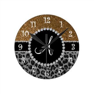 Brillo negro del oro del leopardo del monograma relojes de pared