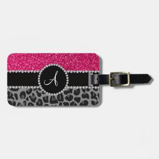 Brillo negro del rosa del leopardo del monograma etiquetas de equipaje