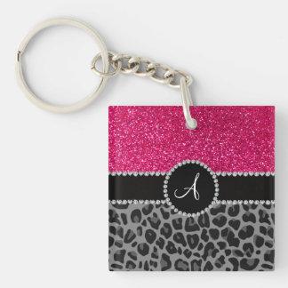 Brillo negro del rosa del leopardo del monograma llavero cuadrado acrílico a doble cara
