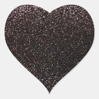Brillo negro pegatina en forma de corazón