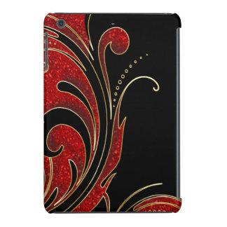Brillo negro, rojo e impresión de Swirly del oro Funda Para iPad Mini Retina