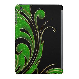 Brillo negro, verde e impresión de Swirly del oro Funda Para iPad Mini