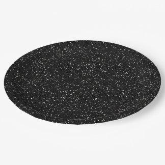 Brillo negro y de plata brillante platos de papel