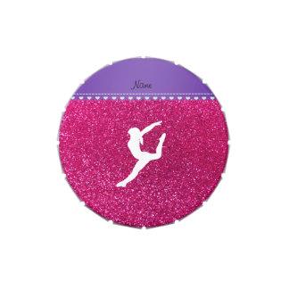 Brillo no rosado conocido del neón del gimnasta jarrones de dulces