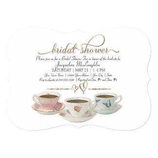 """Brillo nupcial del oro de la taza de té de la invitación 5"""" x 7"""""""