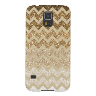 Brillo Ombre de Chevron del oro falso Carcasa Para Galaxy S5
