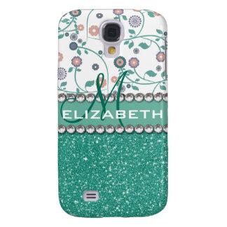 Brillo Pern de la flor del monograma de la Funda Para Galaxy S4