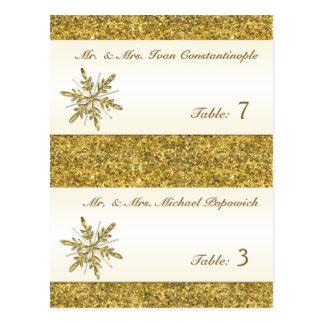 Brillo Placecards Pre-impreso copo de nieve del or Postales