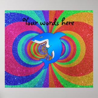 Brillo psicodélico del arco iris del tiburón azul posters