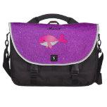 Brillo púrpura blanco rosado conocido personalizad bolsas de portátil