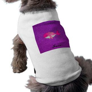 Brillo púrpura blanco rosado conocido personalizad playera sin mangas para perro