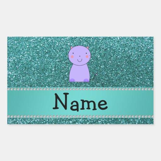 Brillo púrpura conocido personalizado de la pegatina rectangular